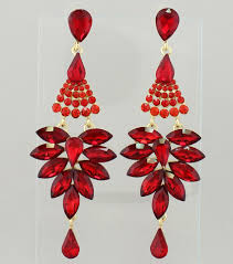 Colorful Chandelier Earrings Pageant Earrings Long Red Chandelier Earrings Color Red Gold