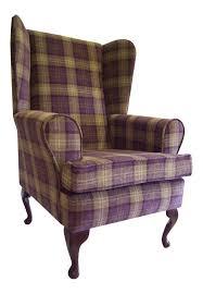 Armchairs Uk Sale Fireside Wing Back Queen Anne Chair Aubergine Lana Tartan Check In
