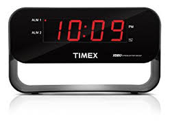 timex t128bqx6 dual alarm clock with usb charging and