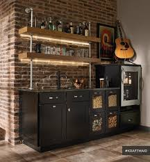 home bar area kraftmaid cherry kitchen bar area with led lighting rustic
