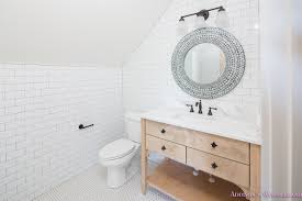 whitewashed vanity bathroom cabinet white subway tile dark grout