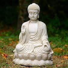 sitting shakyamuni buddha white finish large garden zen