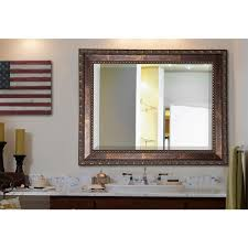 Beveled Floor Mirror by 31 5 In X 43 5 In Rectangle Mocha Bronze Hammered Decorative