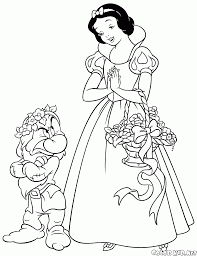 coloring page snow white and the dwarf grumpy