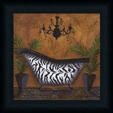safari soak in zebra by cat bathroom dcor framed art print wall