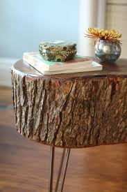 How To Build A Wood End Table by 17 Apart How To Diy Stump Table