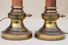 pair mid century vintage stiffel lamps solid brass u0026 wood lamps w