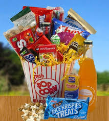 Popcorn Baskets Movie Time Snack Basket Gift