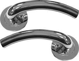 door handles lever on rose door handle set polished chrome hawk