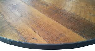 round dining table metal base table top crafthubs round reclaimed wood tabletop with metal edge