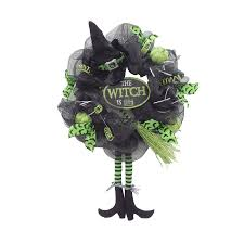 Halloween Wreath Shop Holiday Living 24 In Indoor Witch Legs Artificial Halloween