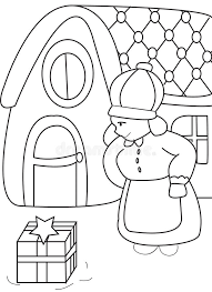 hand drawn coloring page of a woman receiving a gift stock