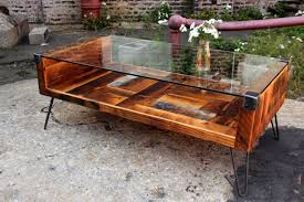 Reclaimed Wood Furniture Reclaimed Wood And Tempered Glass Top Coffee Table By