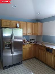 kitchen color schemes with brown cabinets before and after brown kitchen gets a black and white