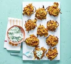 canape ideas nigella baked carrot nigella seed bhajis with raita recipe food