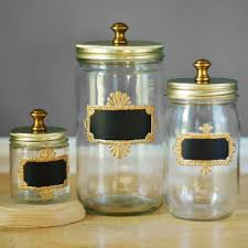 home accessories glass canisters with chalkboard and silver lid