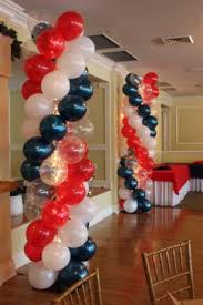 black white red and silver balloon arch and columns parties