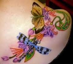 lovely colorful flowers and flying butterfly and dragonfly