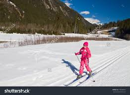 portrait cute little crosscountry skiing stock photo