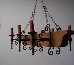 Antique Wood Chandelier Vintage Italian Chandelier In Painted Wood With Blue Rust And Gold