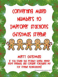 christmas mixed number and improper fractions freebie by meganne