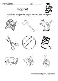 science worksheet for kids to circle the attracted thing by magnet