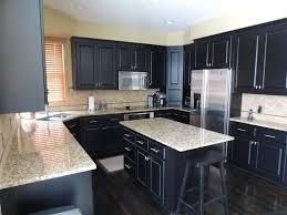 fabulous black kitchen cabinets below granite countertops melt