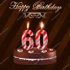 60 year happy birthday card with cake and candles 60th birthday