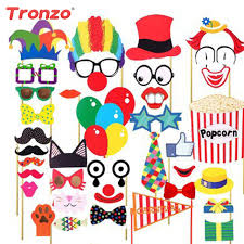 photo booth party props tronzo 36pcs clown photo booth props birthday decor diy