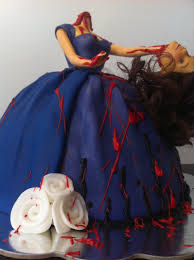Halloween Cake Decorations Edible by Decapitated Barbie Cake Cakecentral Com