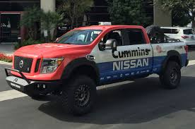 custom lifted nissan armada 2016 nissan titan xd gets measured for sema
