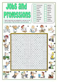 jobs and professions wordsearch worksheet free esl printable