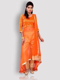 designer dress orange banarasi net designer dress