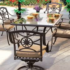 Wrought Iron Patio Tables Furniture Black Wrought Iron Patio Furniture With 6 Swivel Patio