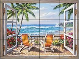 kitchen backsplash murals ceramic tile mural tropical terrace by sung kitchen