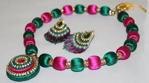 bead jewelry necklace designs images Silk thread beaded necklace making at home diy jewellery jpg