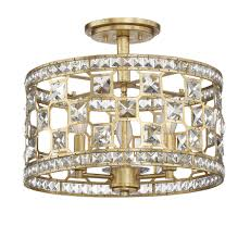 6 842 3 33 clarion 3 light crystal semi flush by savoy house