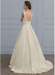 satin v neck wedding dress gown v neck sweep satin wedding dress with lace