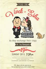 invitation card cartoon design wedding invitation card template with cute groom and bride cartoon