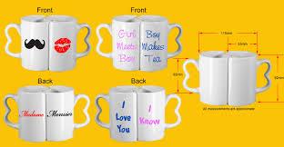 Heart Shaped Mug by Custom Personalised Interlocking Couples Mugs With Heart Handles