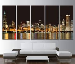 chicago home decor wall art design chicago skyline wall art rectangle 5 pieces black