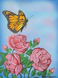 Roses And Butterflies - butterfly and roses painting by margaret stoller