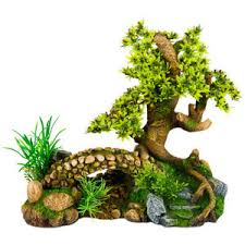 top fin bonsai tree with bridge aquarium ornament decorat