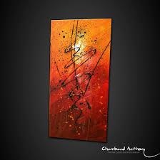 Tableau Triptyque Contemporain by Tableau Orange Rouge Et Noir