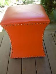 Vinyl Orange Ottoman 15 Wide Orange Vinyl Storage Ottoman Bench Chest W Lift Top