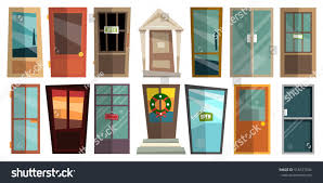 front doors for homes set colorful front doors homes buildings stock vector 518577034