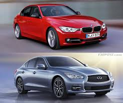 lexus vs acura vs infiniti visual comparo of bmw f30 3 series vs infiniti q50 sedan