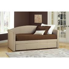bedroom brown wood daybeds with trundles with white bedding and