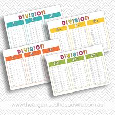 Division Table Chart Division Math Charts The Organised Housewife Shop