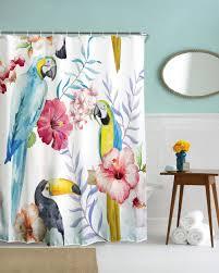 Curtain Cartoon by Online Shop 3d Novel Parrot Flower Waterproof Shower Curtain